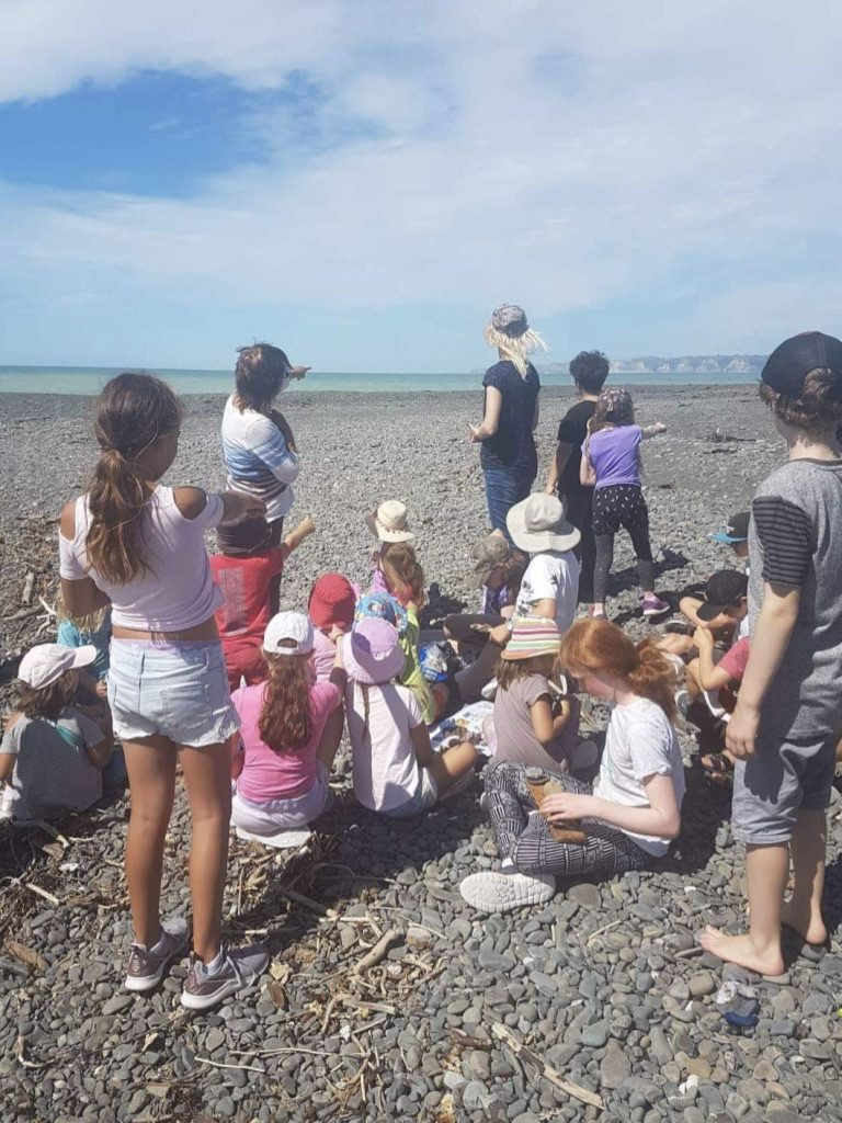 Port Ahuriri School Montessori Primary class at the Tukituki River mouth in Haumoana, Hawkes Bay